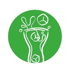 Glass cup splash soda ice outline with green color vector