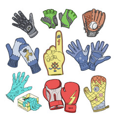 Glove woolen mittens and protective pair of vector
