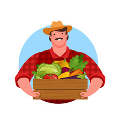Happy farmer holding wooden box full fresh vector
