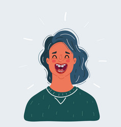 happy woman laughs woman vector image