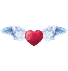 Heart with angel wings in the style of a low poly vector image