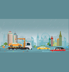 heavy rain drops and city flood on city view vector image
