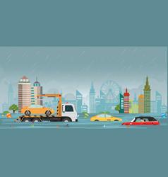 Heavy rain drops and city flood on city view vector