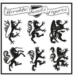 Heraldic beasts figures vector
