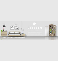 interior background with modern cozy bedroom vector image