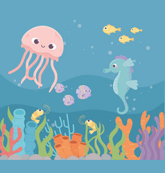 jellyfish seahorse fishes shrimp life coral reef vector image