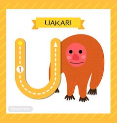 Letter u uppercase tracing standing uakari vector
