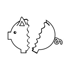 Line nice pig to save coin currency broken vector