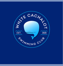 Logo white cachalot swimming diving club vector