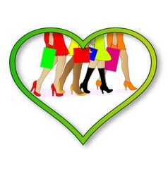 love shopping vector image