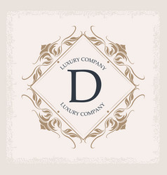 luxury company d monogram business emblem heraldry vector image