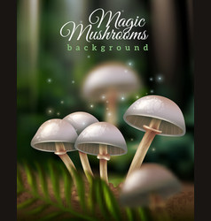 Magic mushrooms background vector