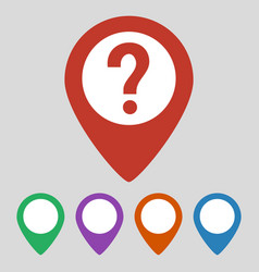 map pointer with question icon on grey background vector image