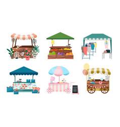 Market stalls flat set fair funfair trade tents vector