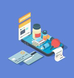medical app smartphone screen with online order vector image