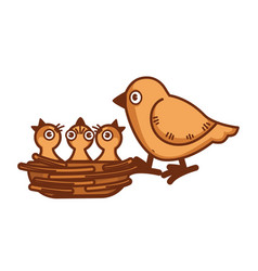 mother bird sits on edge of nest with babies vector image