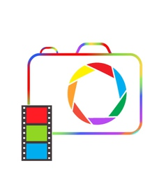 Multicolored camera with film on a white vector image