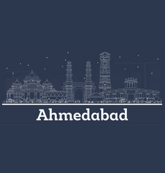 Outline ahmedabad india city skyline with white vector