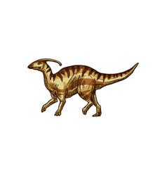 Parasaurolophus ornithopod dino isolated animal vector