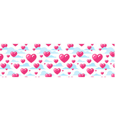 pink hearts horizontal background decoration for vector image