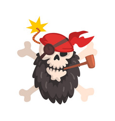 Pirate skull and crossbones jolly roger wearing a vector
