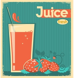 Red strawberry juice on card background vintage vector