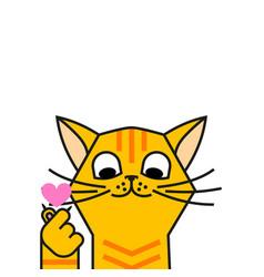 Redhead cat loves k pop korean symbol hand heart vector