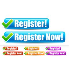 Register and register now buttons with checkmark vector