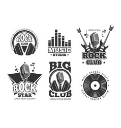 Retro audio record studio sound labels vector