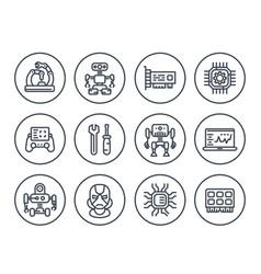robotics mechanical engineering robots icons vector image