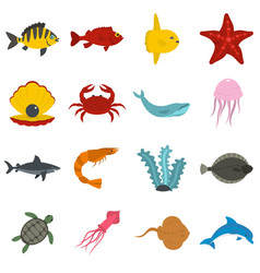 sea animals icons set in flat style vector image