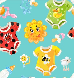 Seamless background of children clothes and toys vector image