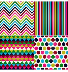 seamless stripes zigzag polka dot vector image