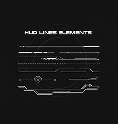 Set of black and white hud lines infographic vector