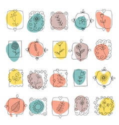 Set of spring doodle flowers and plants vector image