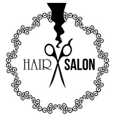 Simple retro sign for hair salon with scissors vector