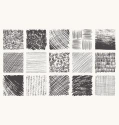 Sketch pencil texture set pen hatch effect black vector