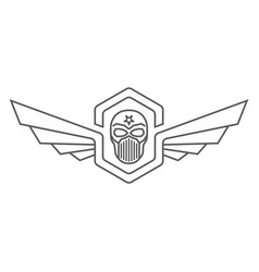 Skull helmet with wings logo vector