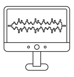 sound waves on a computer monitor icon vector image