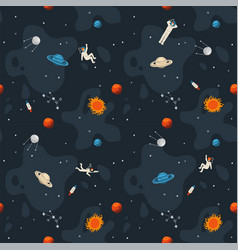 Space seamless pattern background cute template vector