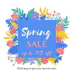 spring sale floral frame isolated on white vector image