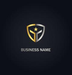 star shield protect gold logo vector image