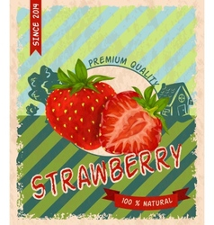 Strawberry retro poster vector image