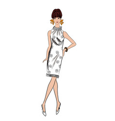 stylish woman fashion dressed girl 1960s style vector image