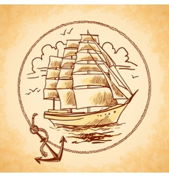Tall ship emblem vector image