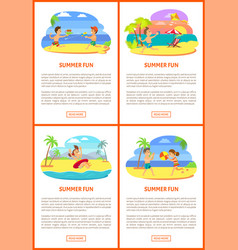 teenagers on beach friends playing poster vector image