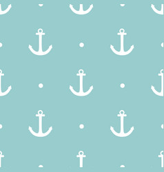 tile sailor pattern with anchor and white dots vector image