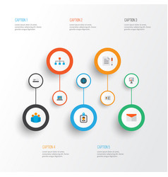 Trade icons flat style set with world structure vector