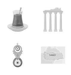 Turkish tea amulet ruins antiquity map of vector