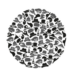various hats icons set in circle eps10 vector image